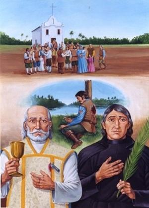 Entre os novos santos estão André de Soveral (esquerda) e Ambrósio Francisco Ferro (fundo) e Mateus Moreira