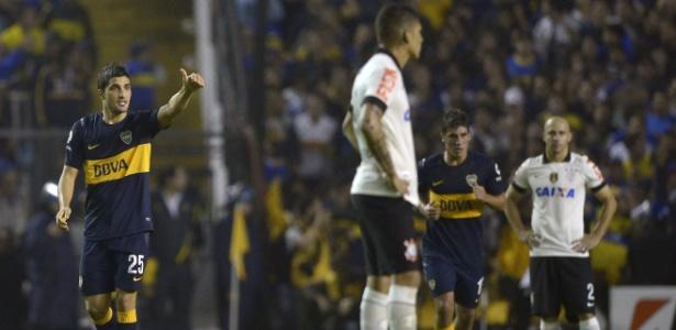 Blandi comemora gol do Boca Juniors na partida contra o Corinthians, nesta quarta-feira