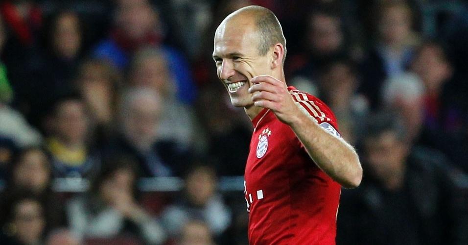 01.mai.2013 - Robben comemora o gol marcado contra o Barcelona no Camp Nou, pelo segundo jogo das semifinais da Liga dos Campeões