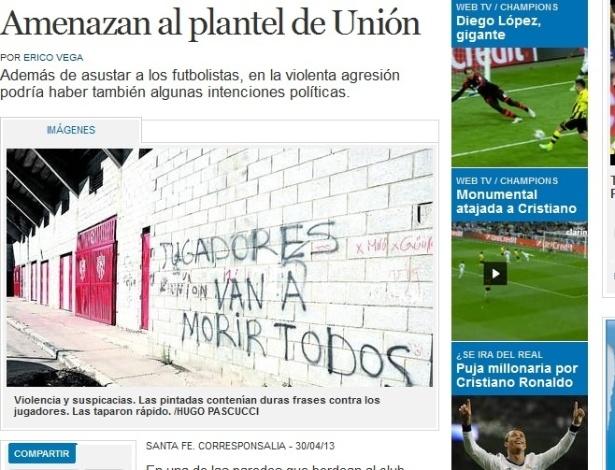 Muro de time argentino é pichado com aviso: 'todos os jogadores vão morrer'