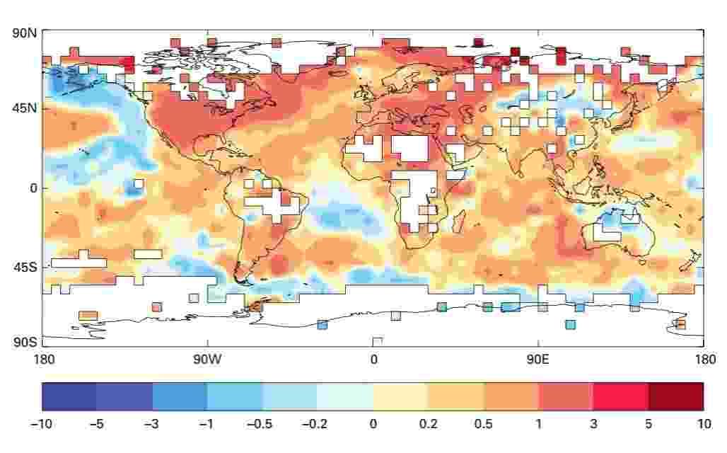 """2.mai.2013 - 2012 foi o 9º ano mais quente de toda a história, alerta boletim da Organização Meteorológica Mundial (WMO, na sigla em inglês). Segundo o relatório sobre a situação climática global, o impacto da elevação de temperaturas fez o Nordeste do Brasil enfrentar a pior seca dos últimos 50 anos. No ano passado, a região sofreu, entre março e maio, um déficit de chuva de 300 milímetros, o que """"afetou mais de 1.100 cidades, ameaçando a vida das populações locais e seus abastecimentos de alimento"""" - WMO"""