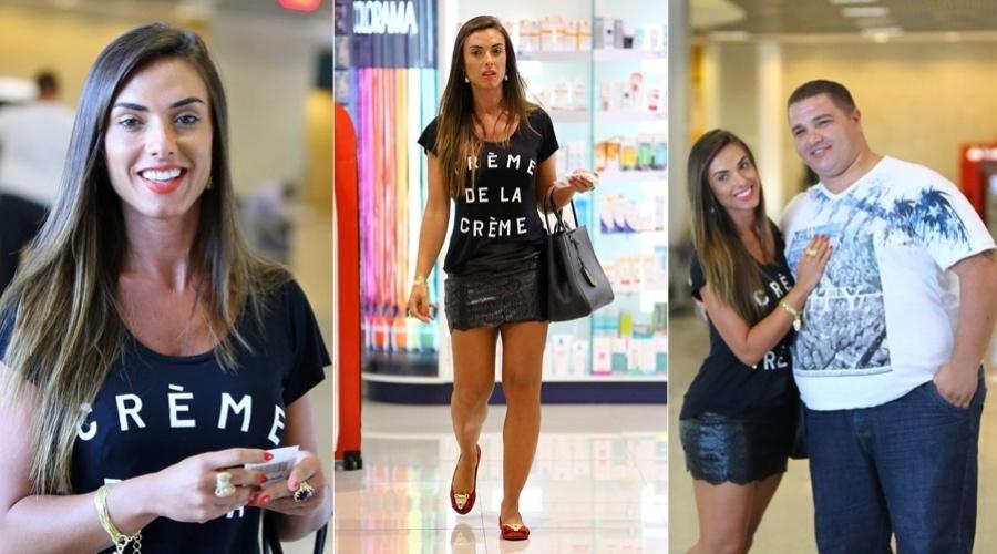 2.mai.2013 - Para provar que está com a autoestima em cima, Nicole Bahls circulou pelo aeroporto Santos Dumont, no Rio, vestindo uma camisa com a expressão