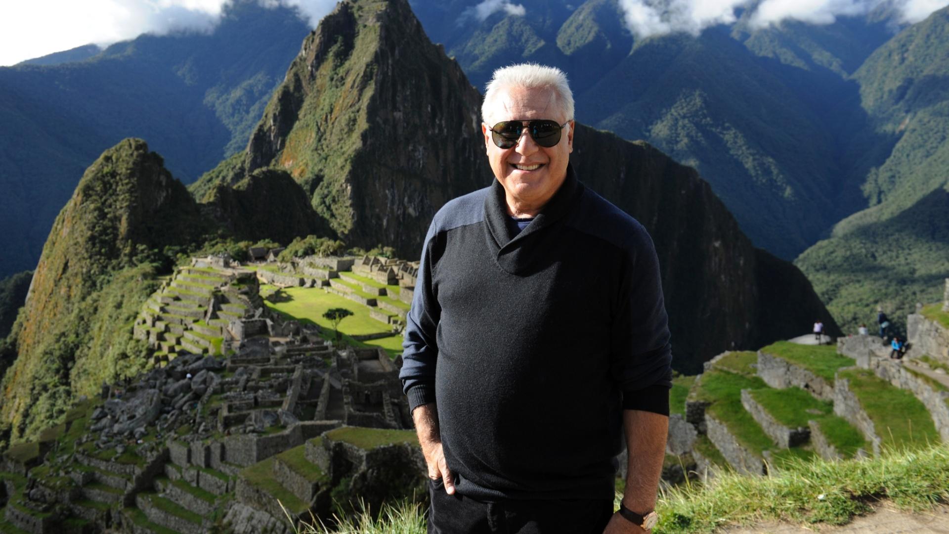 Antonio Fagundes durante gravação no Peru