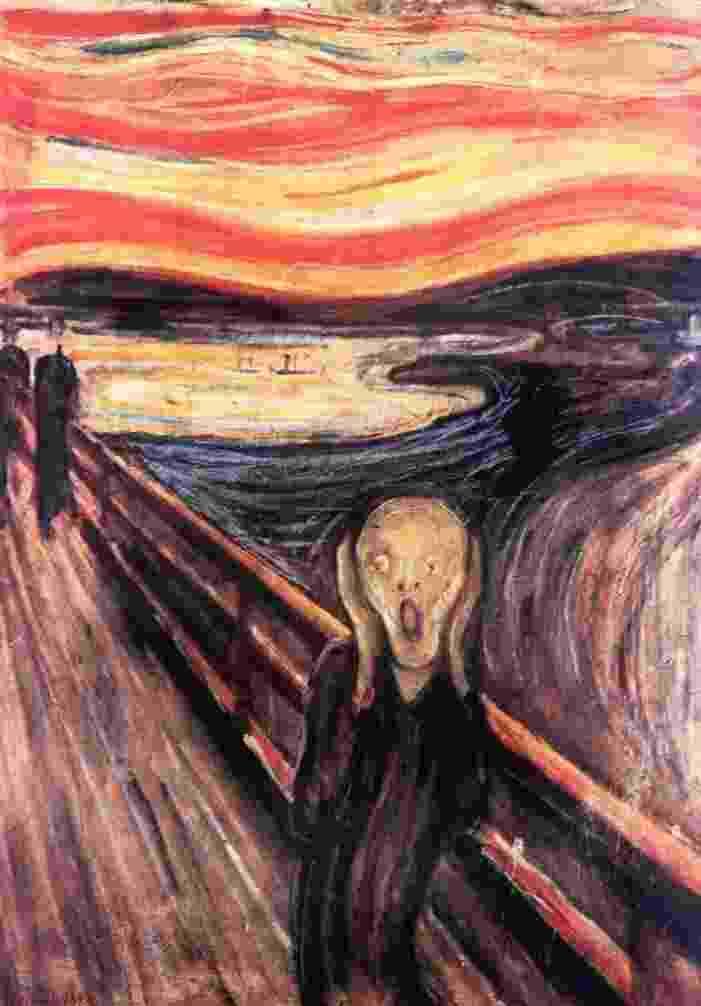 """Em agosto de 2004, """"O Grito"""", do pintor norueguês Edvard Munch (1863-1944), foi roubado em plena luz do dia do museu Munch de Oslo, de onde três indivíduos armados e mascarados levaram também """"Madonna"""", outra obra do mesmo artista. - AFP PHOTO / KATRINE"""