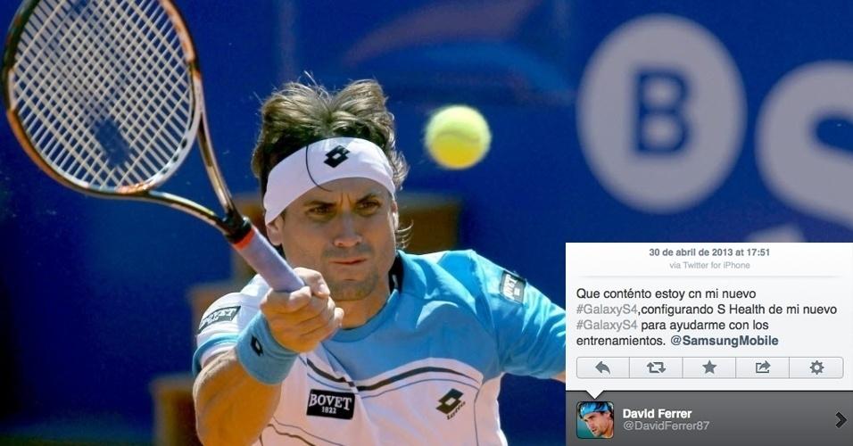 """O tenista espanhol David Ferrer postou no Twitter elogios ao smartphone Galaxy S4, da Samsung. """"Estou feliz com meu novo Galaxy S4. Estou configurando o S Health [aplicativo de saúde do aparelho] para me ajudar com os treinos"""". O problema é que Ferrer acabou escrevendo a mensagem por meio de um iPhone. Na imagem, o tenista se defende durante derrota para Dmitry Tursunov no ATP 500 de Barcelona"""