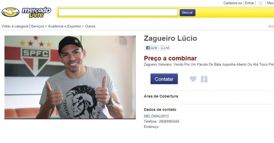 Torcedor coloca zagueiro Lúcio, do São Paulo, à venda na internet após expulsão na partida contra o Atlético-MG