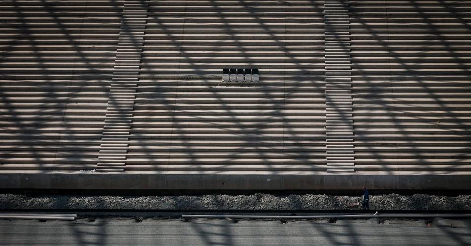 03.maio.2013 - Cadeiras são vistas nas obras do estádio Itaquerão nesta sexta-feira