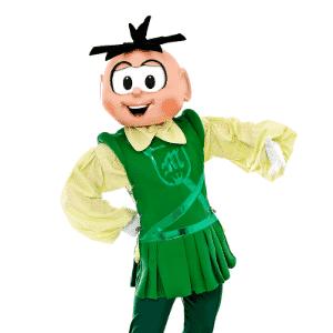 O verde, cor que representa o personagem de Cebolinha, foi transferido para o figurino de Romeu Montéquio Cebolinha, um jovem corajoso e namorador que adora jogar futebol - Divulgação