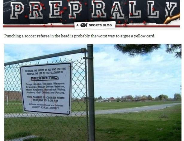 Campo onde Ricardo Portillo foi agredido por jogador de 17 anos após aplicar um cartão amarelo; oito dias depois o árbitro faleceu