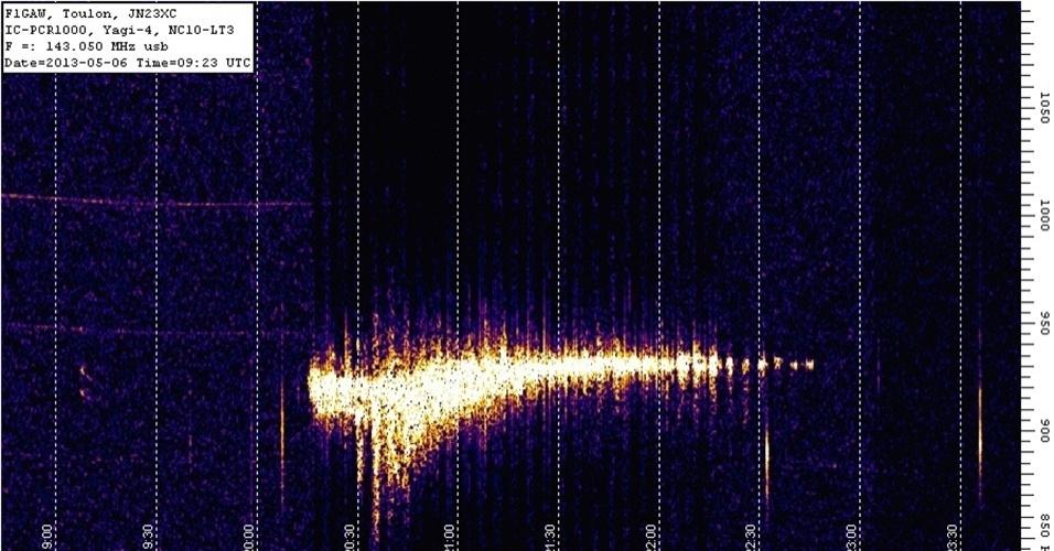 6.mai.2013 - Imagem de radar capta brilho do rastro da chuva de meteoros Eta Aquarid nesta segunda-feira (6), na França