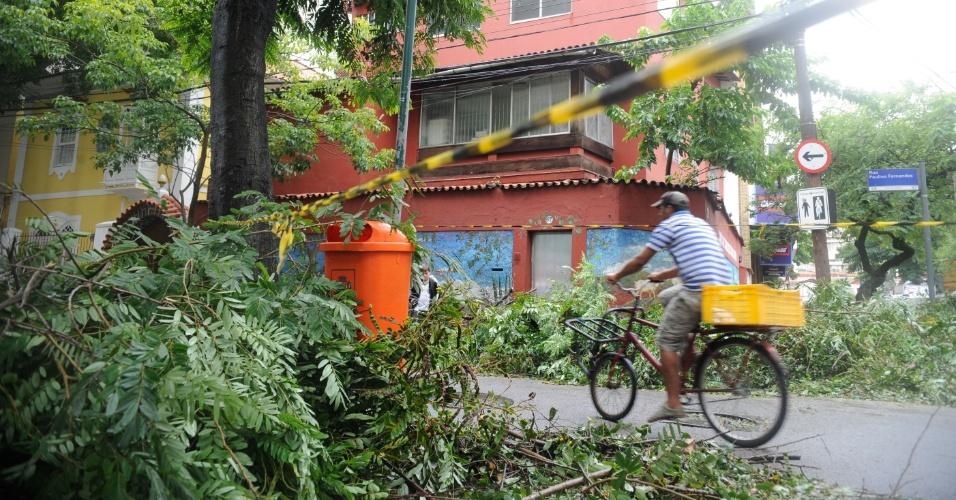 6.mai.2013 - Ventania no Rio de Janeiro deixa ruas da capital fluminense obstruídas com a queda de árvores.  Os ventos na cidade, que chegaram a alcançar 93 quilômetros por hora (km/h), também deixaram vários bairros sem luz