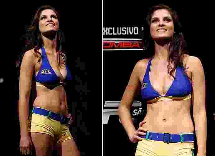 Aline Franzoi esteve na primeira dupla brasileira de ring girls do UFC e participou da edição de São Paulo, em que Vitor Belfort nocauteou Michael Bisping. Depois, não foi mais chamada pelo evento - Divulgação/UFC