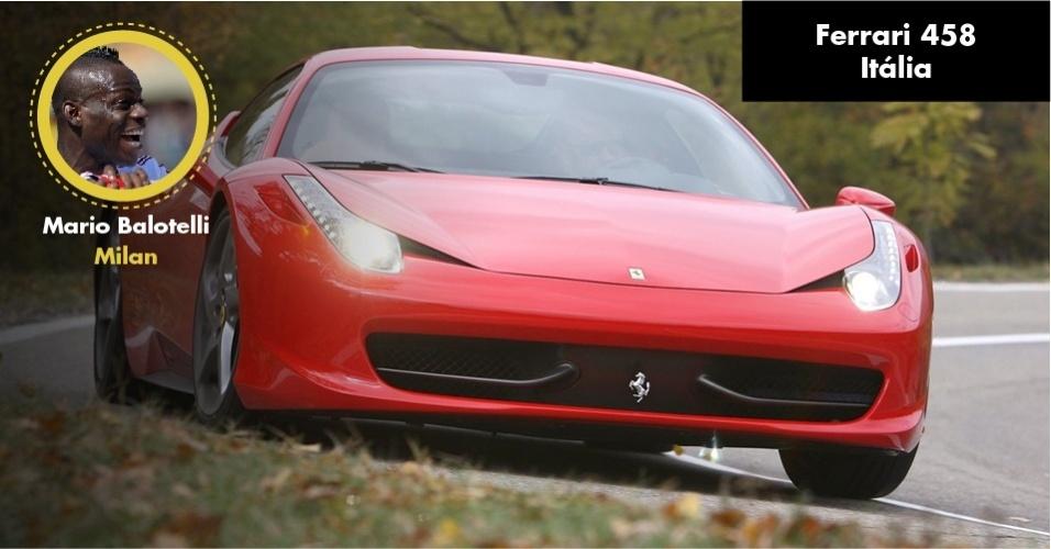 O craque italiano também possui uma Ferrari Italia de R$ 1,5 milhão