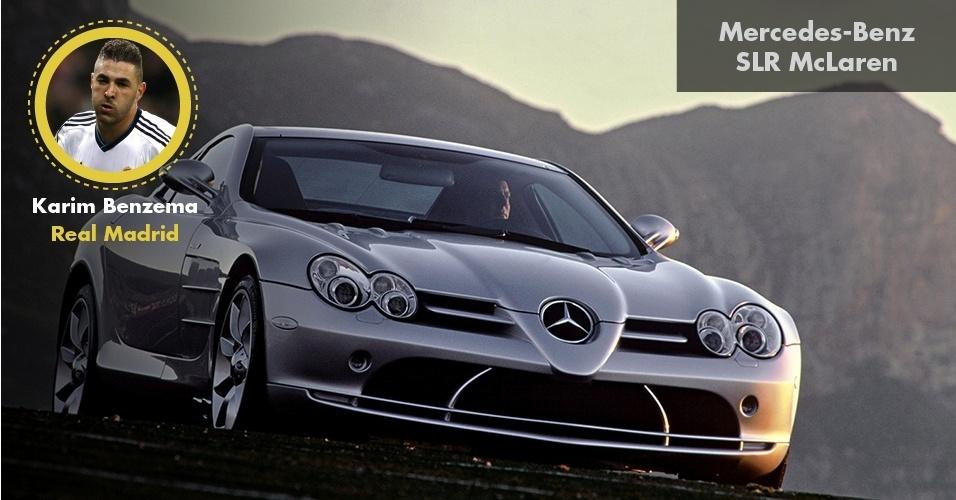 O francês Benzema, do Real Madrid, anda por aí com uma Mercedes-Benz SLR McLaren, modelo esportivo de R$ 2,3 milhões
