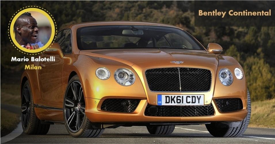 O polêmico atacante do Milan Mario Balotelli tem um Bentley Continental GT de cerca de R$ 500 mil