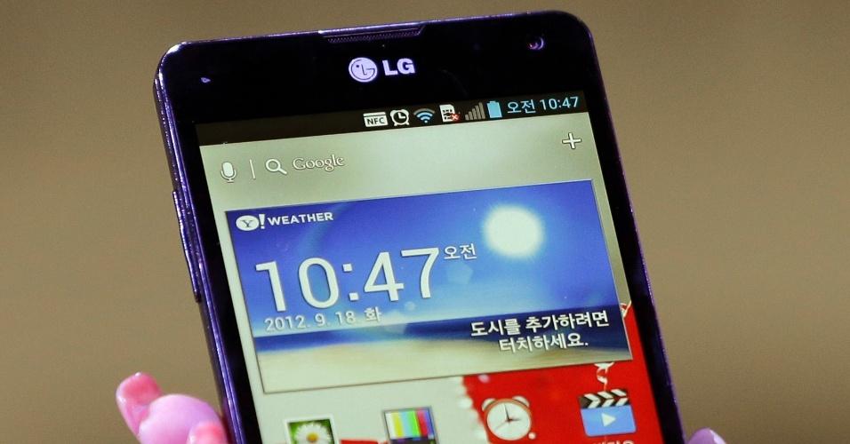 Smartphone Optimus G é apresentado durante evento realizado em setembro de 2012 na Coreia do Sul na sede da LG. O smartphone tem processador quad-core, câmera traseira de 13 megapixels e tela de 4,7 polegadas