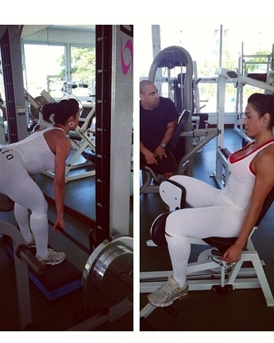 8.mai.2013 - Gracyanne Barbosa também costuma fazer exercícios conjugados, como o stiff para os posteriores de coxa e a cadeira adutora