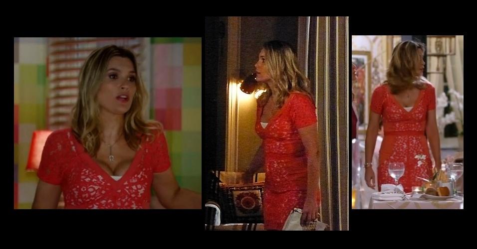 d67eec0c095e8 O vestido de renda laranja Cris Barros usado por Érica (Flavia Alessandra)  em