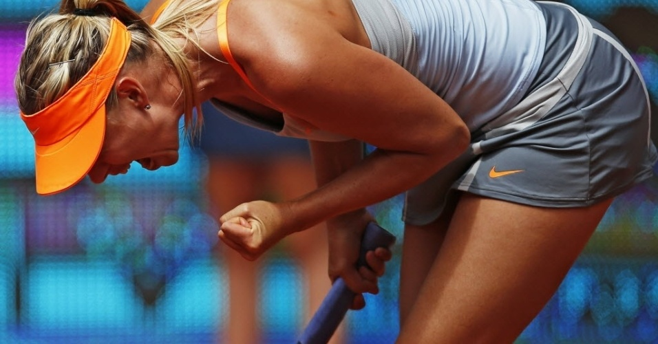 09.mai.2013 - Maria Sharapova vibra após derrotar Sabine Lisicki no torneio de Madri