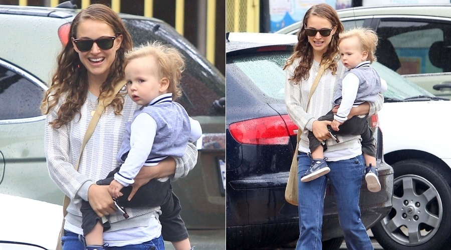 6.mai.2013 - Natalie Portman foi fotografada enquanto caminhada por um estacionamento com o filho, Aleph, em Los Angeles