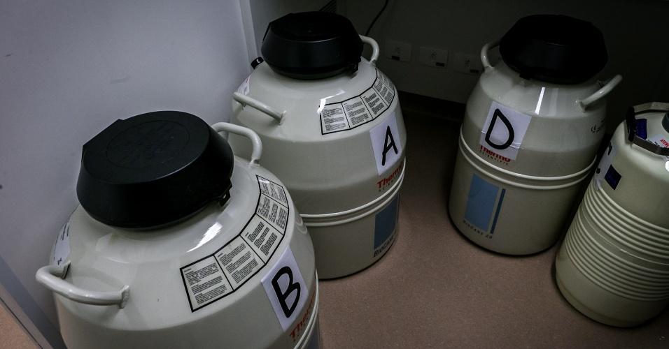 galões de criopreservação; passo a passo de um tratamento fertilização assistida na clínica Huntington, em São Paulo