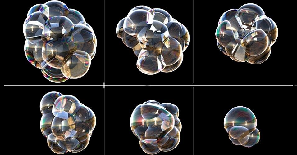 9.mai.2013 - Como as bolhas se reagrupam quando uma nova chega? Este é o tema de pesquisa publicada na revista Science. Para isso, os cientistas fizeram bolhas de sabão e perceberam que todo o grupo tenta incorporar uma nova bolha e re-equilibrar o conjunto -- mas não eram capazes de descrever matematicamente como isto acontecia, porque a a força para dar a forma não é a mesma que faz as bolhas estourarem. Eles, então, usaram modelos climáticos para explicar as bolhas, uma bolha seria como uma erupção vulcânica, que influencia em mudanças mais amplas em todo o sistema. O novo modelo divide a vida de uma espuma em três fases: rearranjo, em que o grupo de bolhas escorrega e desliza em volta uma da outra para obter a estabilidade; a drenagem, em que a gravidade puxa o fluido no interior da bolha em direção ao solo; e ruptura, em que a membrana da bolha se torna tão desigual que finalmente estoura, forçando as bolhas restantes a se reorganizarem. Segundo os pesquisadores, a utilidade disso não é melhorar as brincadeiras infantis, mas entender como bolhas de metal e plástico funcionam para criar materiais mais leves e fortes