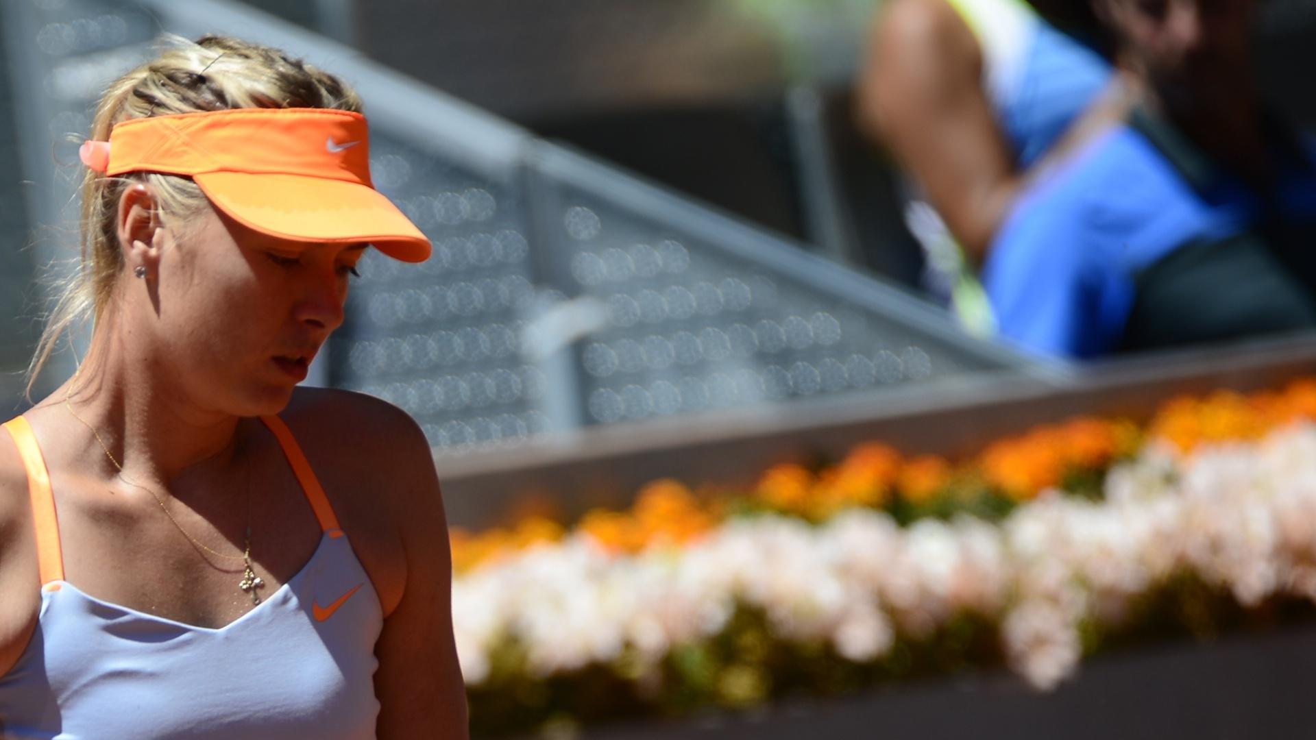 12.mai.2013 - Sharapova lamenta derrota para Serena Willians pelo Masters 1000 de Madri
