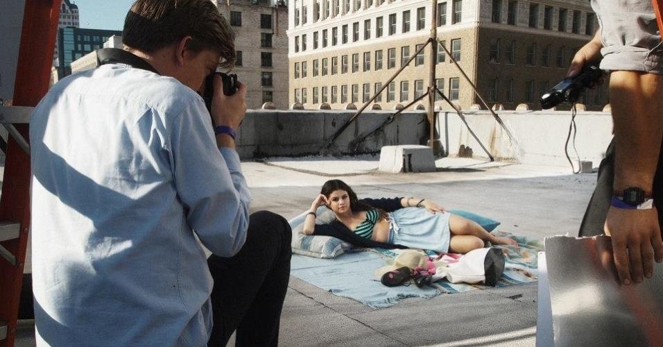 13.mai.2013 - A cantora Selena Gomez tira fotos para campanha da Neo Label, linha jovem da Adidas