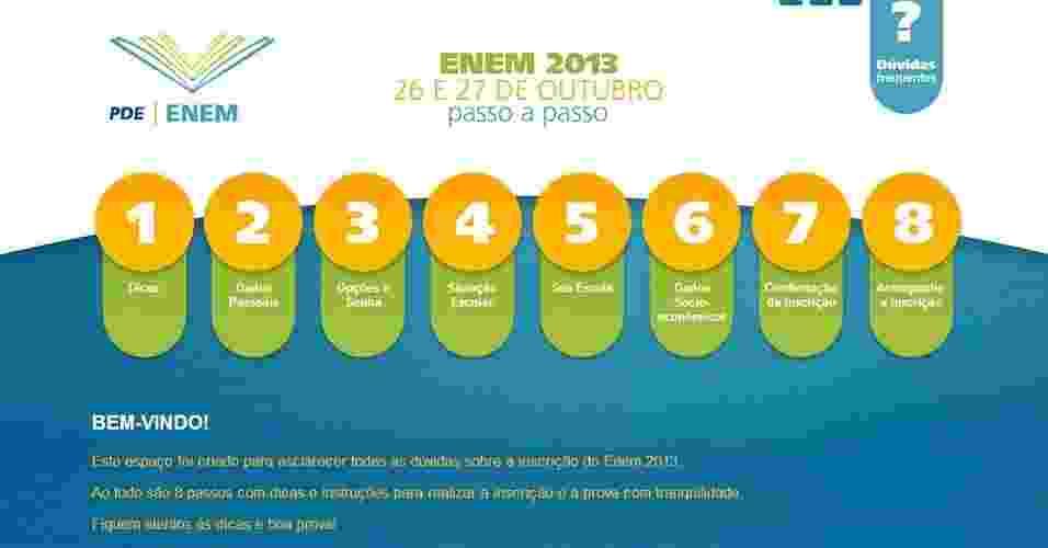 O Inep ( Instituto Nacional de Estudos e Pesquisas Educacionais) divulgou um passo a passo para auxiliar na inscrição do Enem (Exame Nacional do Ensino Médio) 2013 - Reprodução/ www.enem.inep.gov.br