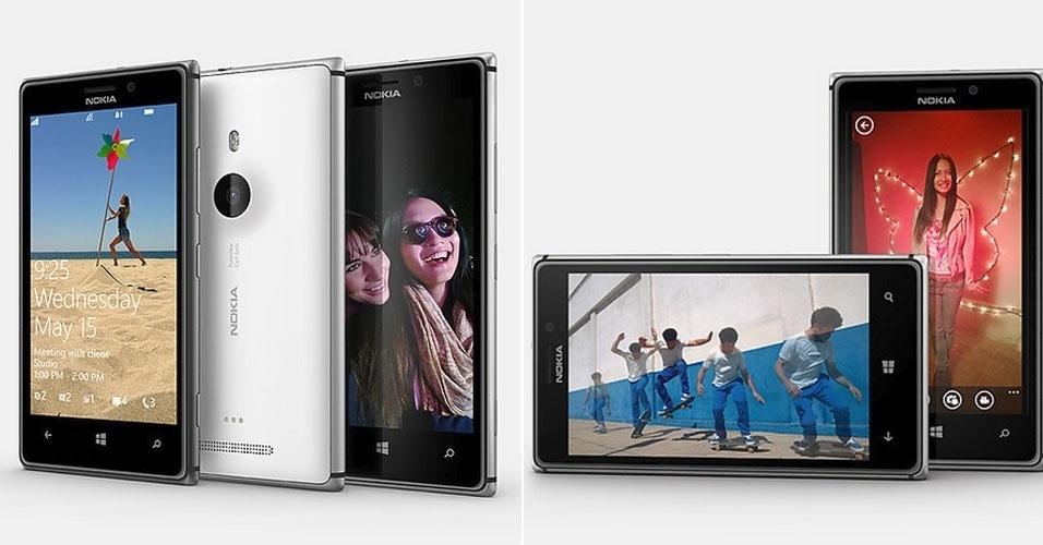 15.mai.2013 - A Nokia apresentou o Lumia 925, o novo smartphone top de linha da empresa. Mais fino e leve que seu antecessor, ele tem lateral feita de alumínio integrada à antena do celular para melhorar a recepção. Ele roda Windows Phone 8 e tem configuração parecida com a do Lumia 920: processador Snapdragon S4 dual-core de 1,5GHz, 1 GB de RAM e tela de 4,5 polegadas. O armazenamento é de 16 GB - caiu pela metade. O destaque vai para a câmera de 8 megapixels, cheia de recursos. Será lançado em junho na Europa e China