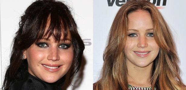 A atriz Jennifer Lawrence, de 22 anos, em dois momentos que parecem separados por décadas - Getty Images