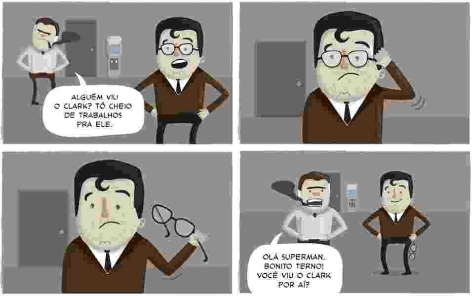 Koff tira sarro da dupla identidade de Clark Kent, alterego do Homem de Aço, que fica irreconhecível para os vilões apenas tirando o óculos - Rafael Koff