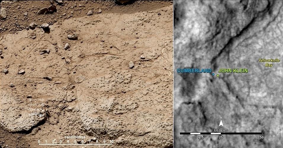 15.mai.2013 - A Nasa (Agência Espacial Norte-Americana) escolheu 'Cumberland' como o segundo ponto do planeta Marte que será perfurado pelo Curiosity. O novo alvo fica a exatos 2,75 metros de distância da rocha John Klein (mapa à direita), local onde o jipe-robô coletou as primeiras amostras de solo do planeta vermelho, em fevereiro de 2013. Cumberland foi escolhido por ter mais grãos resistentes à erosão que forma a superfície irregular de Marte (detalhe à esquerda) - as ondulações podem indicar locais com aglomerado de minerais, que poderiam confirmar a descoberta de que o planeta já teve condições de abrigar vida no passado. A data do início dessa segunda grande operação ainda não foi divulgada pela Nasa