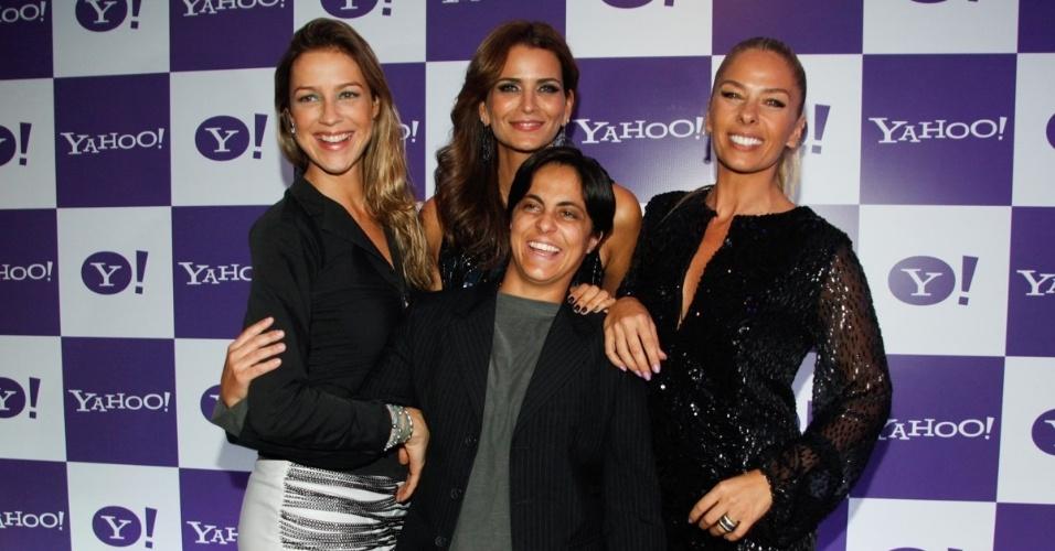 15.mai.2013 - Adriane Galisteu e Fernanda Motta com Luana Piovani e Thammy Miranda no lançamento da competição Yahoo! Beat & Beauty, que busca a melhor DJ feminina do país