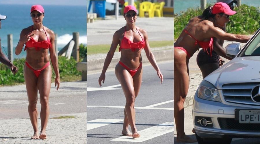 15.mai.2013 - Gracyanne Barbosa exibiu o corpo musculoso em dia de praia na zona oeste do Rio. A mulher de Belo perdeu o posto de rainha da bateria da Mangueira recentemente