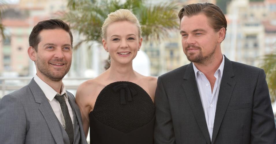 15.mai.2013 - Tobey Maguire, Carey Mulligan e Leonardo DiCaprio promovem