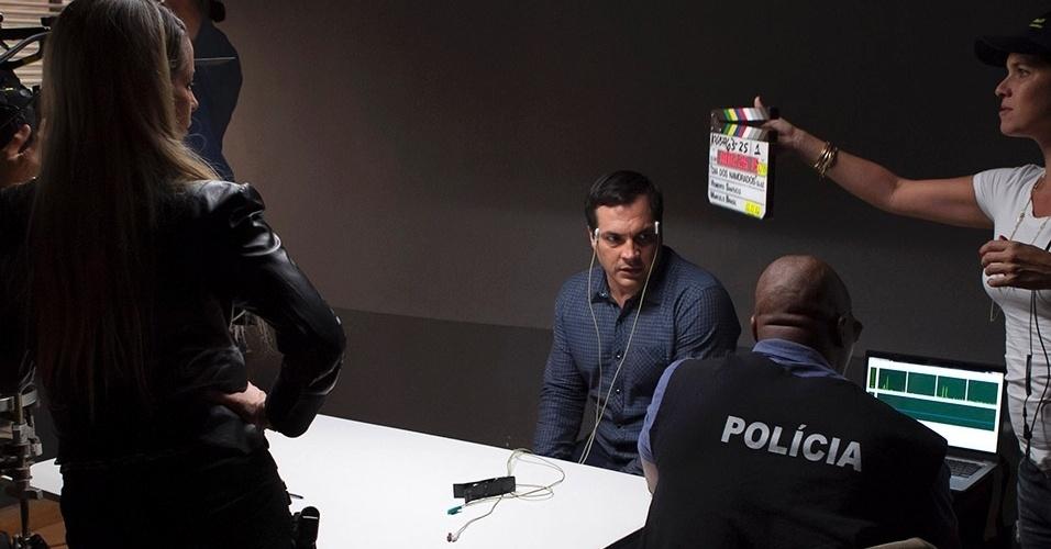 Daniel Boaventura durante filmagens de