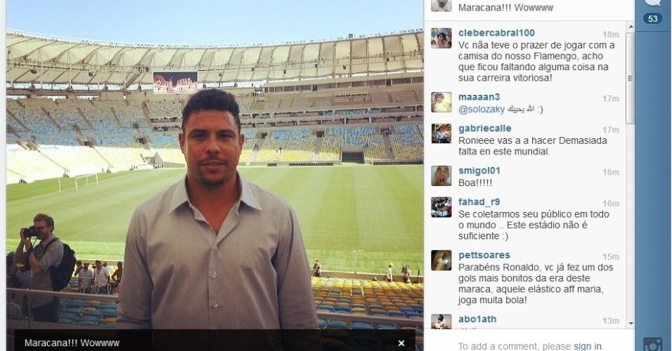 Membro do COL, Ronaldo postou foto dentro do Maracanã em visita da Fifa ao estádio