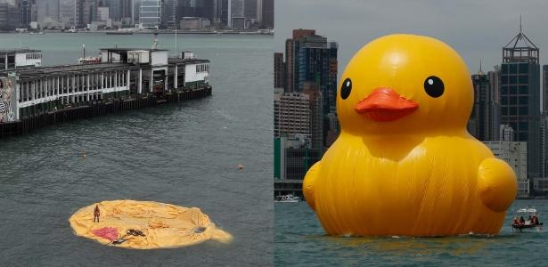 Escultura de pato de borracha exposta em porto de Hong Kong, depois e antes de ser esvaziada - Anthony Wallace/AFP e Kin Cheung/AP