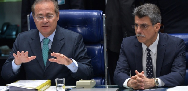 Os senadores Renan Calheiros (PMDB-AL) e Romero Jucá (PMDB-RR)