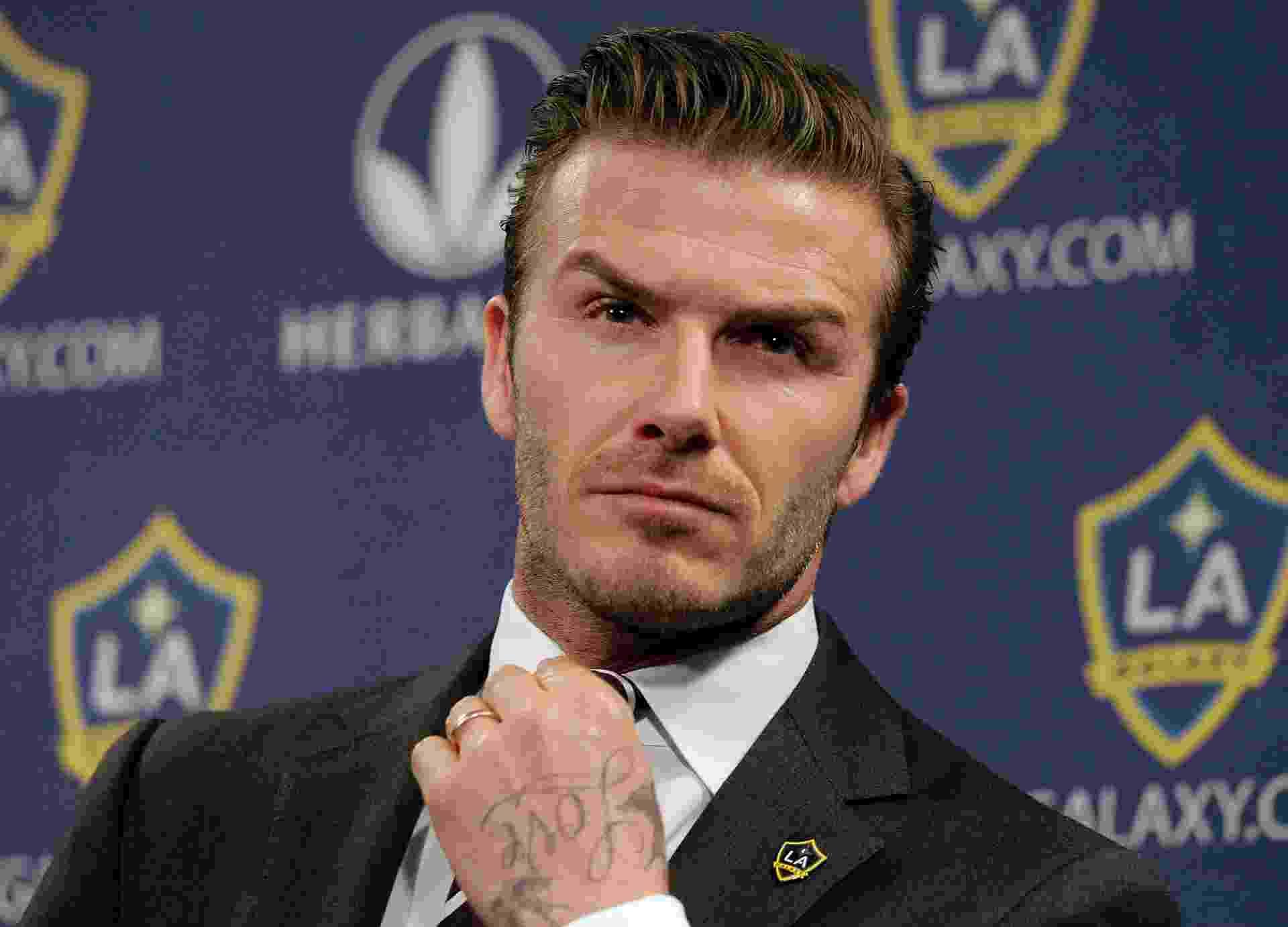 """19.jan.2012 - Nos tempos de LA Galaxy, nos Estados Unidos, David Beckham adotou o estilo """"topetinho"""" - AP Photo/Jae C. Hong"""