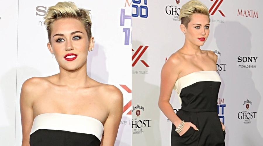 15.mai.2013 - Miley Cyrus teve problemas com a maquiagem durante festa realizada nos Estados Unidos. O chamado pó HD, muito usado pelas famosas, acabou ficando aparente, principalmente na área do nariz da cantora