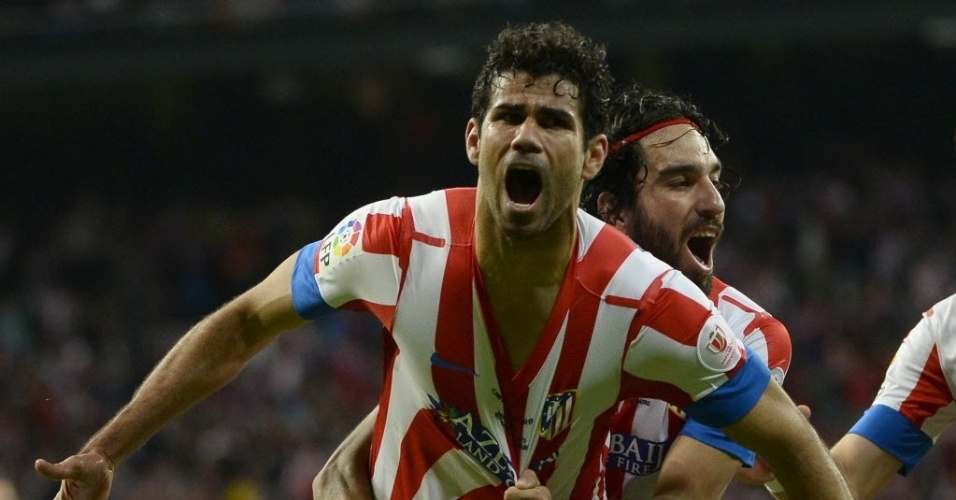 17.mai.2013 - Diego Costa comemora gol do Atlético de Madrid contra o Real Madrid pela Copa do Rei