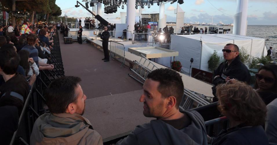 17.mai.2013 - Set de filmagem de programa do canal francês Plus, onde foram disparados tiros de festim nesta sexta-feira (17), em Cannes