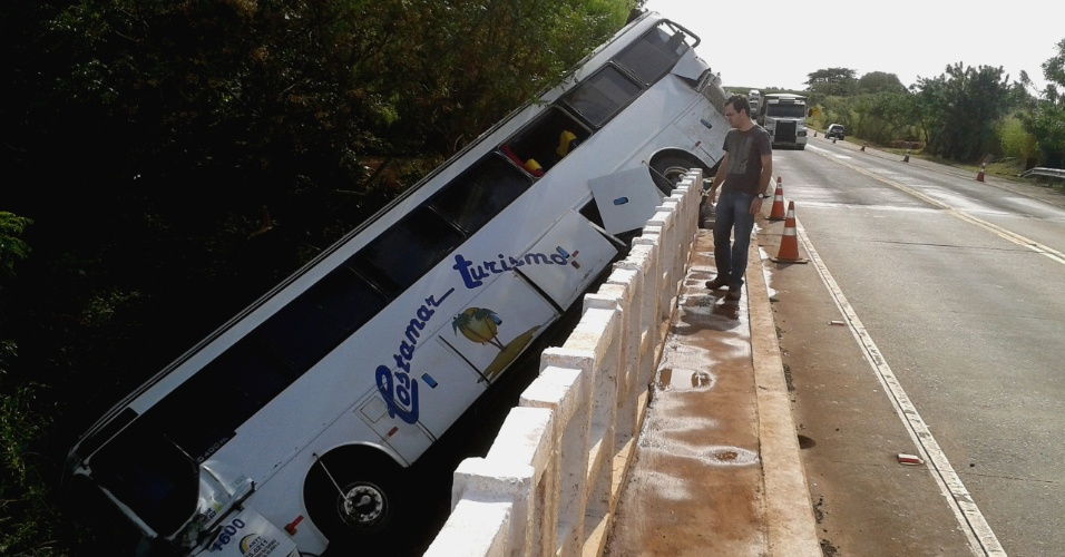 23.mai.2013 - Um ônibus ficou pendurado em uma ponte de rodovia do norte do Paraná, que liga Sertaneja a Sertanópolis, após bater em caminhão, na noite desta quinta-feira (16). O ônibus tentou desviar do caminhão, que era roubado e foi colocado na pista para bloquear a rodovia e permitir que os criminosos realizassem um assalto. As vítimas tiveram ferimentos leves e foram encaminhadas para hospital da região