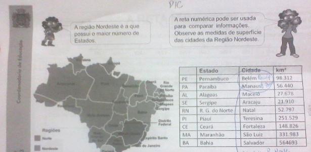 Caderno de matemática da rede municipal do Rio designa Belém como capital de Pernambuco