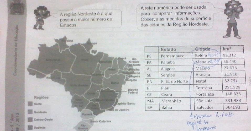 Apostila de matemática da Prefeitura do Rio de Janeiro apresenta erros nas capitais de Pernambuco e Paraíba