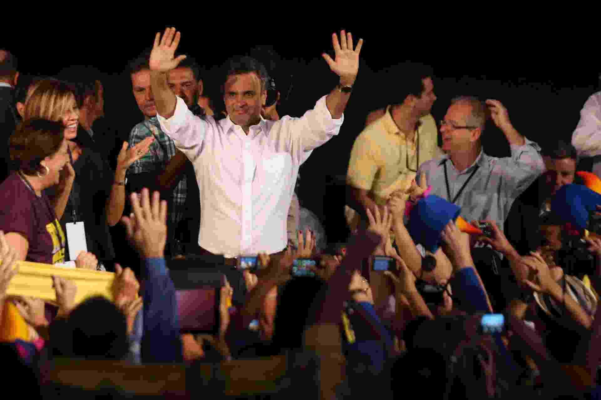 18.mai.2013 - O senador Aécio Neves (MG) assume a presidência nacional do PSDB durante convenção nacional do partido, em Brasília - Sergio Dutti/UOL