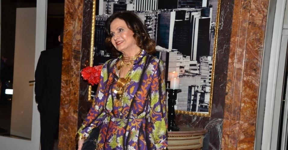 """18.mai.2013 - Rosamaria Murtinho na festa organizada pela Globo em um restaurante de SP para promover a novela """"Amor à Vida"""""""