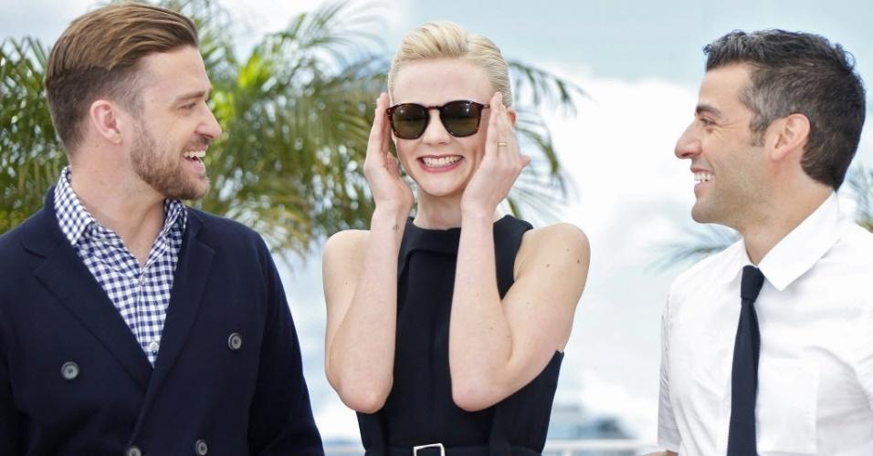 19.mai.2013 - Justin Timberlake, Carey Mulligan e Oscar Isaac promovem o filme